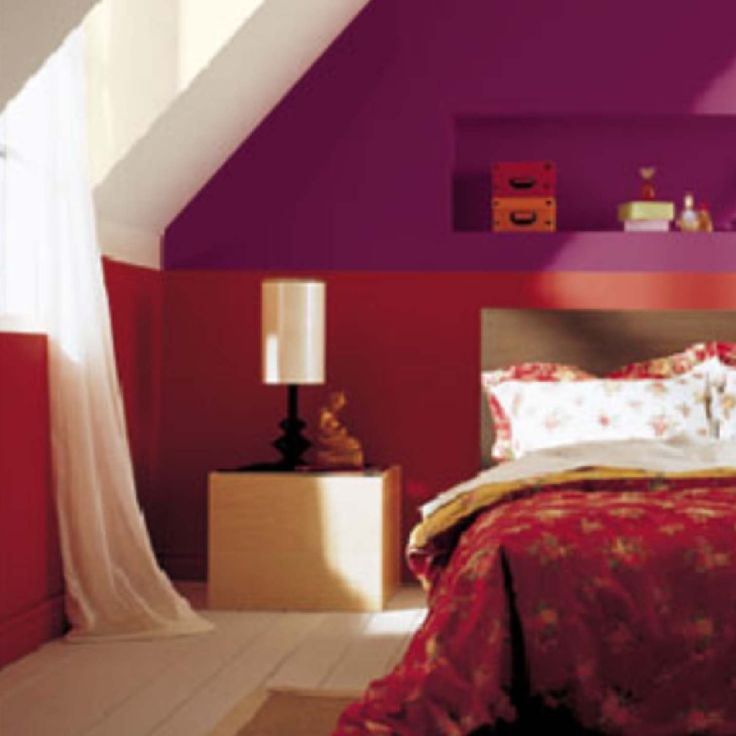 Superior Bedroom , Attic Bedroom Decorating Ideas : Attic Bedroom Decorating With  Red Bedding And Purple And Red Wall Accent