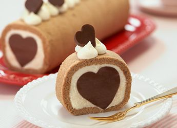 Chocolate cake roll with a surprise heart inside.