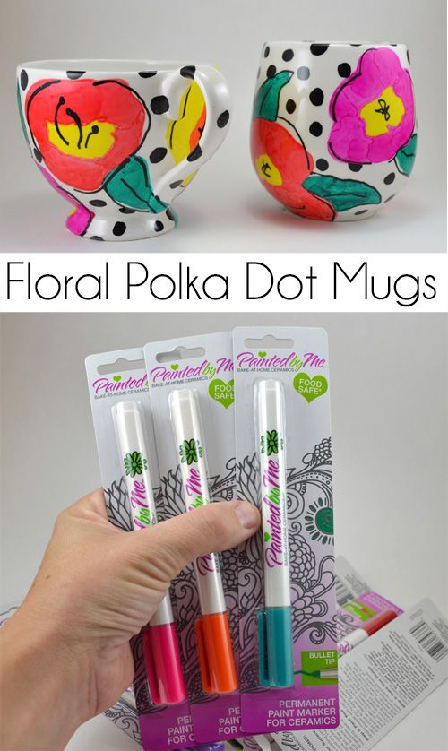 These pretty floral polka dot mugs are so easy to create with Painted by Me supplies. Get the step by step to make the flowers onto a mug that is TRULY DISHWASHER SAFE!