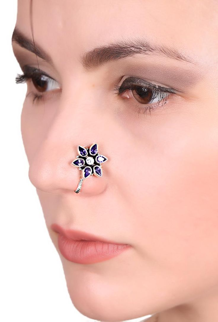 About nath nose ring mukku pudaka on pinterest jewellery gold nose - Inr 949 Silver Floral Shape Clip On Nose Pin With Purple Glass Beads Inspiration