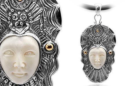 Gold & Silver pendant, bone carving, open eyes, bali spider motif. Medium Size 65x30 mm