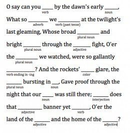 The Star-Spangled Banner is in the public domain, so it was easy to grab the lyrics online and quickly pull some words out.