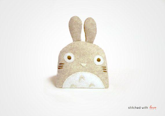 Totoro Mocha  Felt Change Purse by ikufactory on Etsy, $20.00