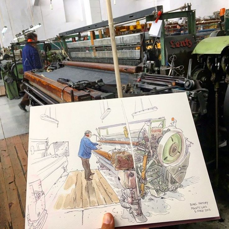 Had a great time sketching the workers and the machines of the Burel Factory. Never before there was a sketcher to capture their life at work. They often came to see what I was doing and give a smile with a 👍🏼