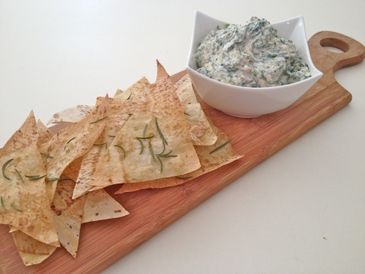 Spinach Dip with Homemade Rosemary & Garlic Chips
