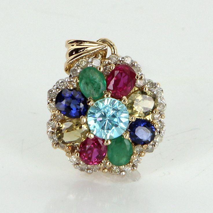 Rainbow Gemstone Diamond Pendant Vintage 14 Karat Gold Estate Fine Jewelry Heirloom