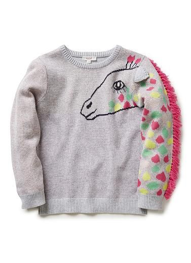 Girls Giraffe Sweater, $69.95. Features sleeve with giraffe spot and mane on wearers left.