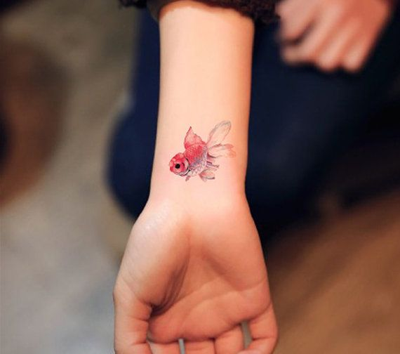 temporary tattoo goldfish gold fish red and by prosciuttojojo