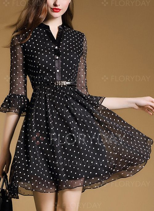 Dresses - $112.12 - Chiffon Polka Dot 3/4 Sleeves Above Knee Casual Dresses (1955103322)