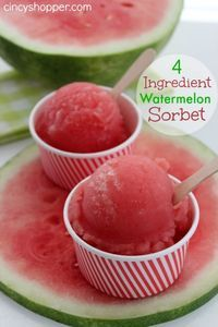 4 Ingredient Watermelon Sorbet Recipe: 1 Cup Sugar 1 cup water 8 cups diced watermelon  Lime juice