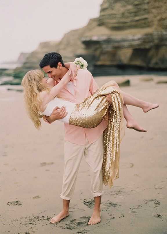 "No. No. No. A mermaid on your wedding day? Ugh. This is a person who has watched ""Splash"" just a few too many times...: Engagement Photo Outfits, Wedding Inspiration, Beaches Photo, Photo Ideas, Beaches Engagement, Gold Sequins, Ashley Kelemen, Engagement Shoots, Beaches Wedding"