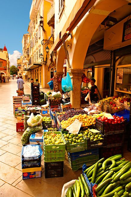Fruit shop in Corfu Old Town, this scene is so vibrant and bright