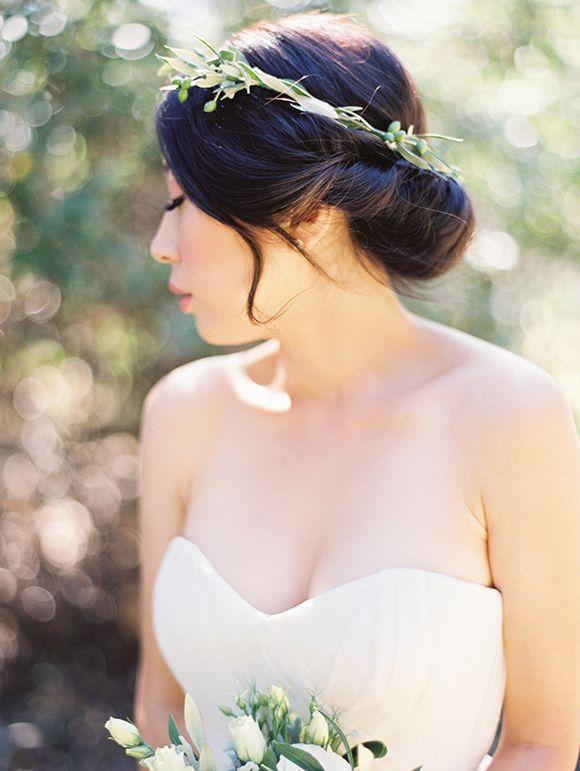 bridal photos - wedding photos - wedding photo ideas - bridal crown - greenery crown - wedding crown #rusticweddinginspiration adele