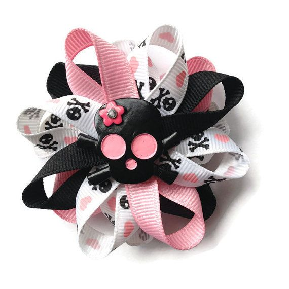 Black, Pink Skull Hair Bow - 3 inch Hair Bow - Skull Hair Bow Barrette - French Clip #HairBowFrenchClip #CustomHairBow #SkullHairBow #HairBowBarrette #SkullBarrette #PinkBlackHairBow #SkullHeartsBow #HandmadeBow #HandmadeHairBow #BlackPinkHairBow