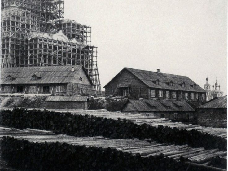 Construction of the Church of Christ the Savior in Moscow. 1852.
