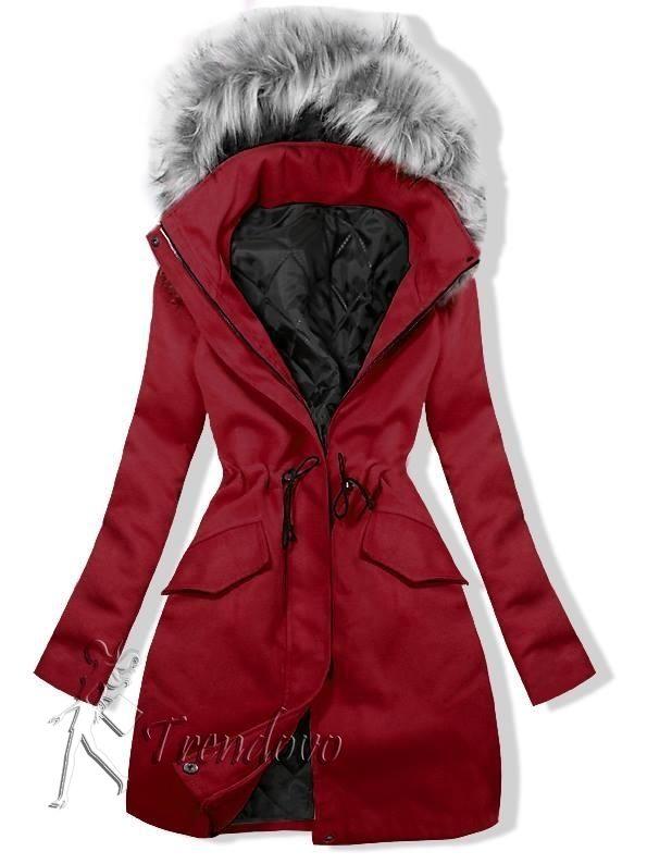 Bordový kabát so sťahovaním v páse