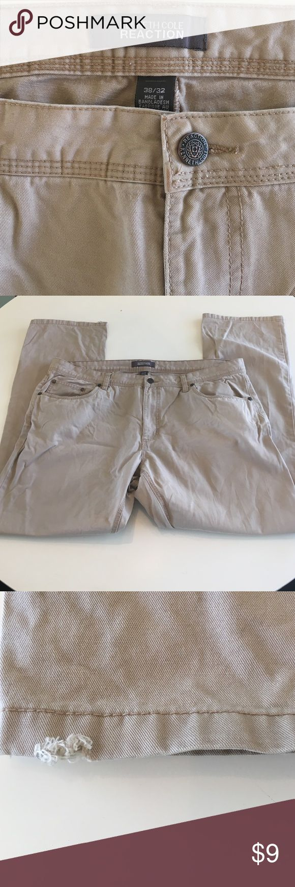 Kenneth Cole Reaction Men's Khaki Pants Great pair of khaki pants. Only sign of wear is on the hem of the right leg - see pictures. Only selling them because they don't fit hubby anymore. 38w 32L Kenneth Cole Reaction Pants Chinos & Khakis