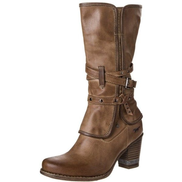 Mustang Cowboy/Biker boots found on Polyvore featuring polyvore, women's fashion, shoes, boots, heels, brown, biker boots, brown boots, engineer boots and western boots