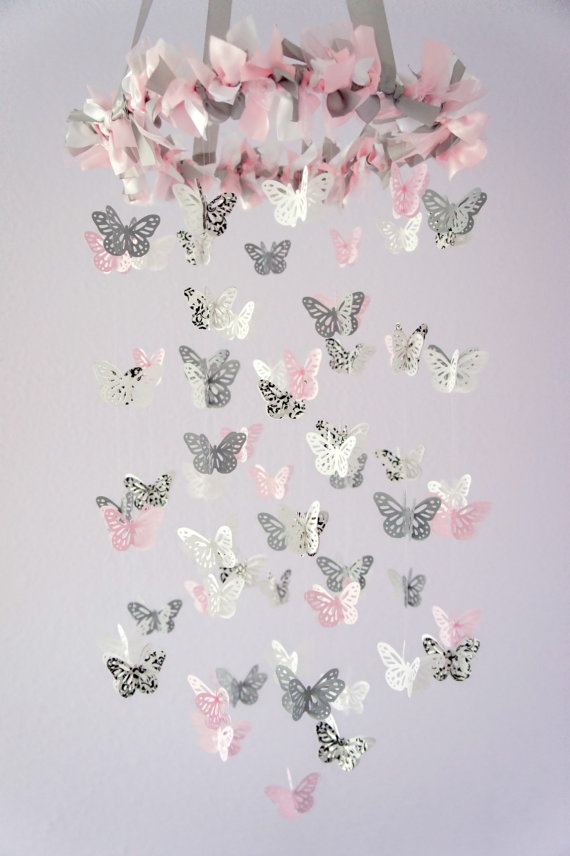 Damask Nursery Pink & Gray Butterfly Mobile by LoveBugLullabies