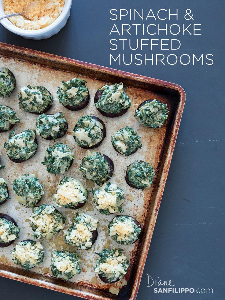 Paleo Stuffed Mushrooms:  Spinach & Artichoke  #balancedbites #21DSD #appetizers