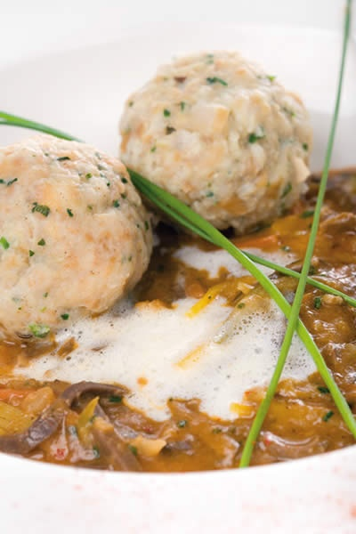 "Austrian ""Beuschel"" is a traditional offal dish, sort of ragout containing veal lungs and heart served with bread dumplings (Semmelknödel)"