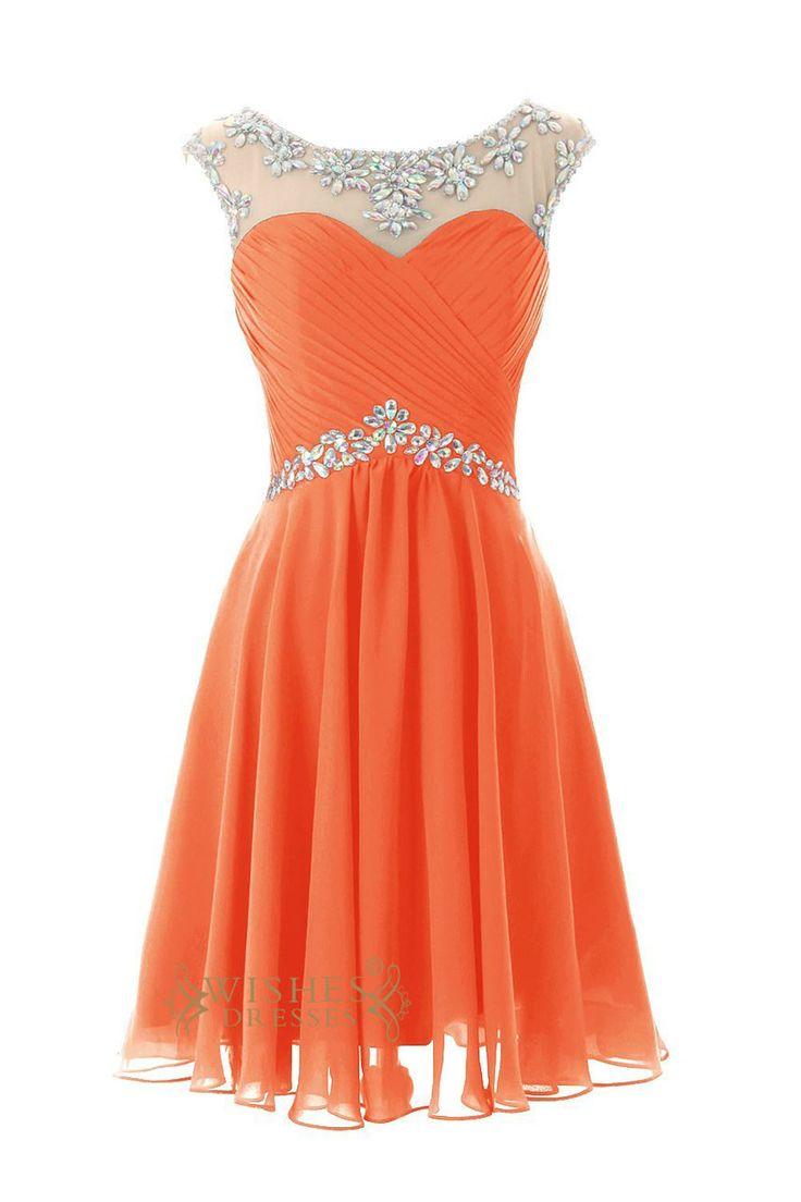 Think, blue and orange prom dresses