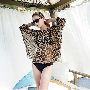 larga blusa de gasa de leopardo playa del ocio, ropa de playa de la mujer - USD $ 12.59