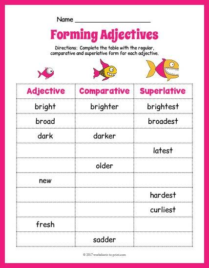 Free Printable Fish Adjective Forms Worksheet