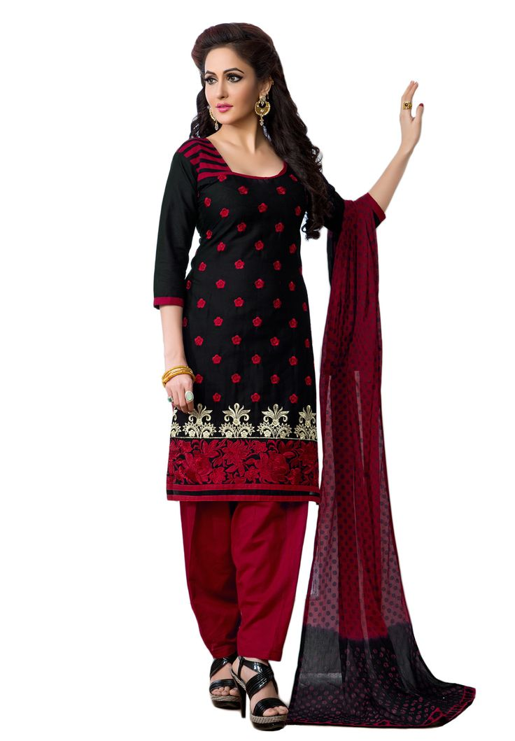 #Black #Red #Dresmaterail #Casualwear #Officewear #Occasionalwear buy at salwarstudio.com