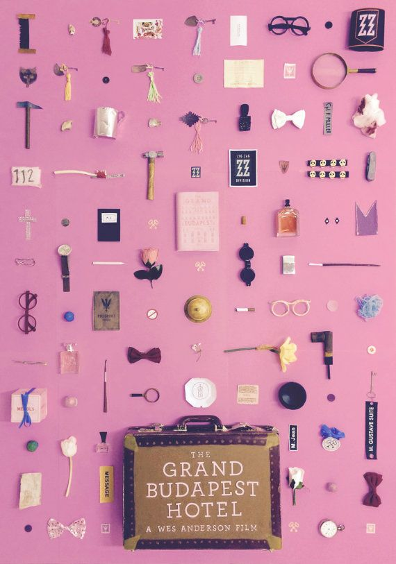 An A3 original artwork for Wes Andersons The Grand Budapest Hotel, made by recreating unique objects from the film.  Dimensions = 297 x 420 mm (11.7 x 16.5 in)