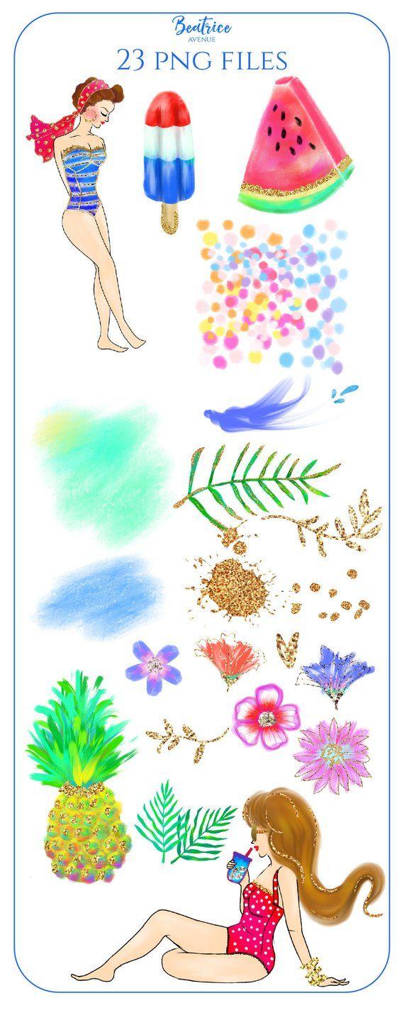 Gold Summer clipart Watercolor clipart beach clipart tropical