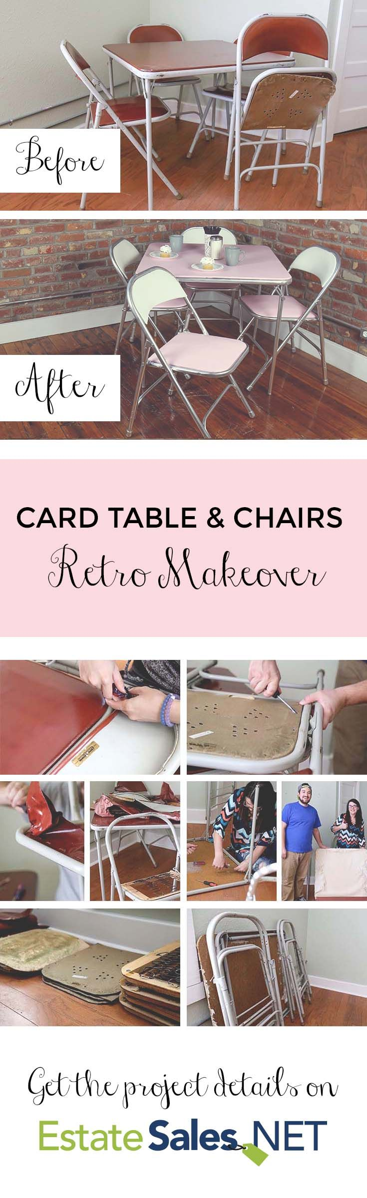 Do you repurpose or upcycle estate sale finds?  Check out our latest estate sale upcycling project on our blog where we transform this old card table we found at a local estate sale into a fun new piece!