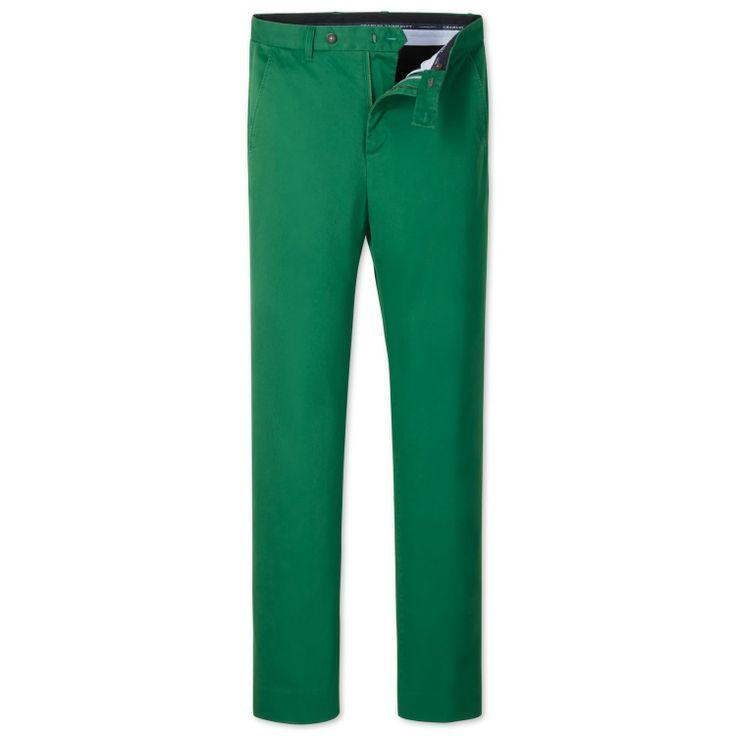 Freizeit-Chinohose Slim Fit grün   Herren Freizeithosen von Charles Tyrwhitt aus der Jermyn Street in London