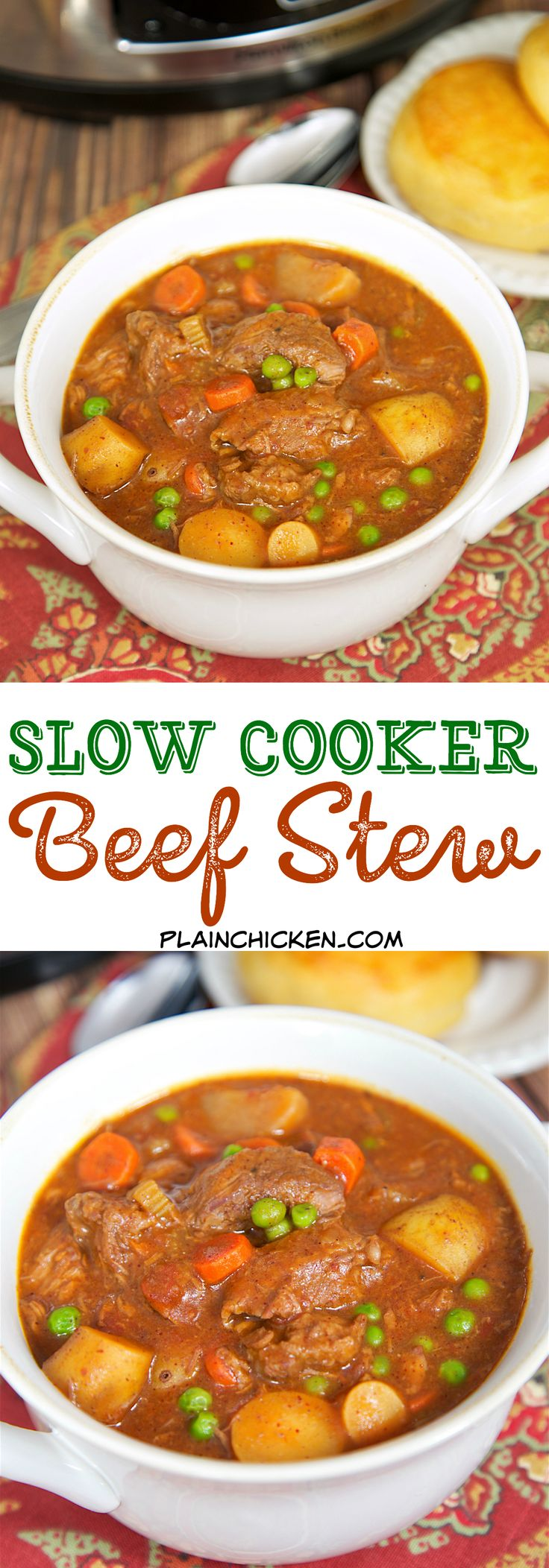 Slow Cooker Beef Stew - beef, potatoes, carrots, green peas, tomatoes, celery, chili powder, brown gravy mix, beef broth. Comfort food at its best! So easy and SO good. Everyone gobbled this up - even the kids!! Serve with some biscuits or cornbread for a complete meal!