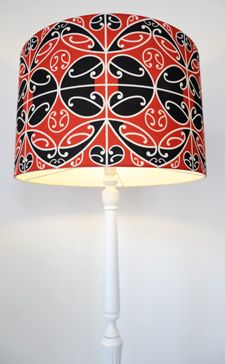 Borrowed Earth Kura Gallery Maori Art Design New Zealand Kowhaiwhai Lamp Shade Fabric 3