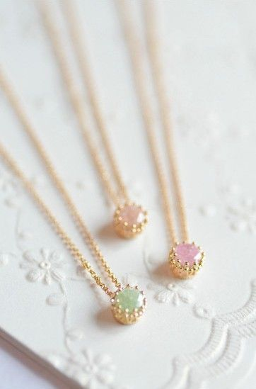 These dainty & lovely pastel color gemstone gold necklaces will pair well with any spring outfit.