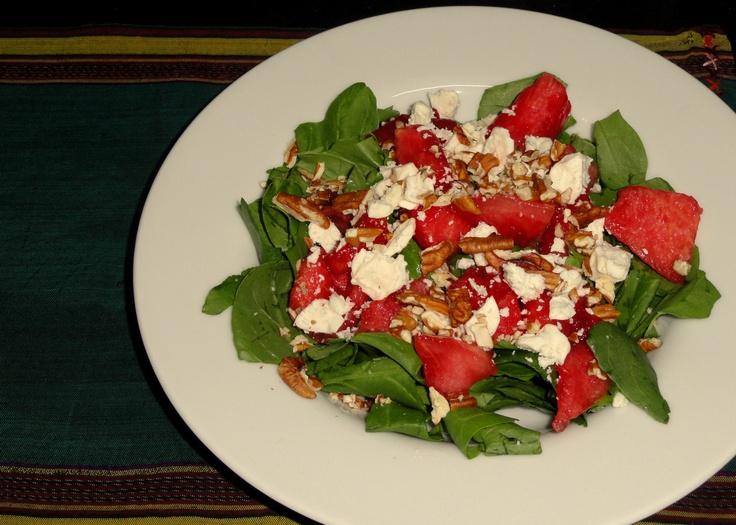 Spinach, Feta, Watermelon and Walnut Salad.