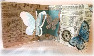 Caz Counsell with a beautiful Butterfly Window Pop 'n Cuts card. A STAMPING & CHIRPING Corner: In my Garden shed