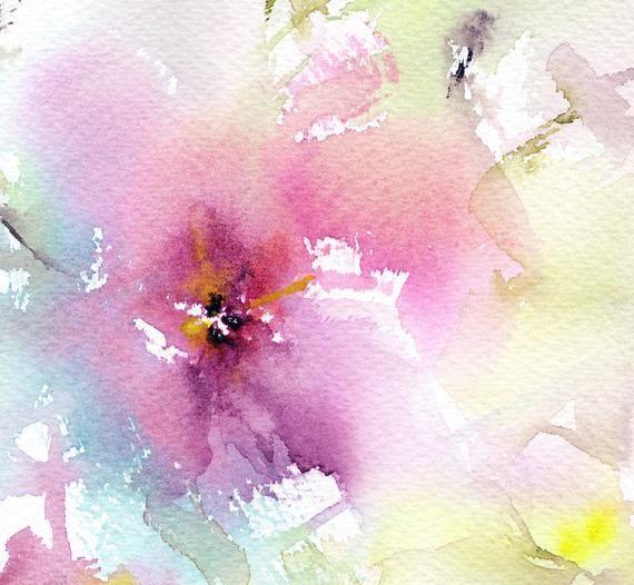 Impression Florale De Giclee D Aquarelle Avec Des Fleurs Roses