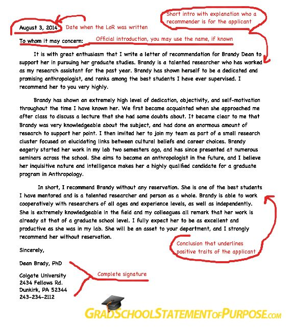 Graduate School Letter of Recommendation Format | Grad School Statement of Purpose