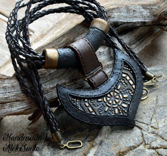 Black necklace Black pendant Black jewelry Polymer clay