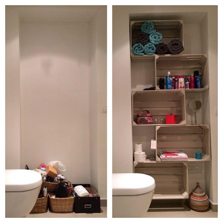 Voor en na: van fruitkistjes naar badkamerkast :) €30 voor de kistjes en €40 voor een pot terpentineverf :)