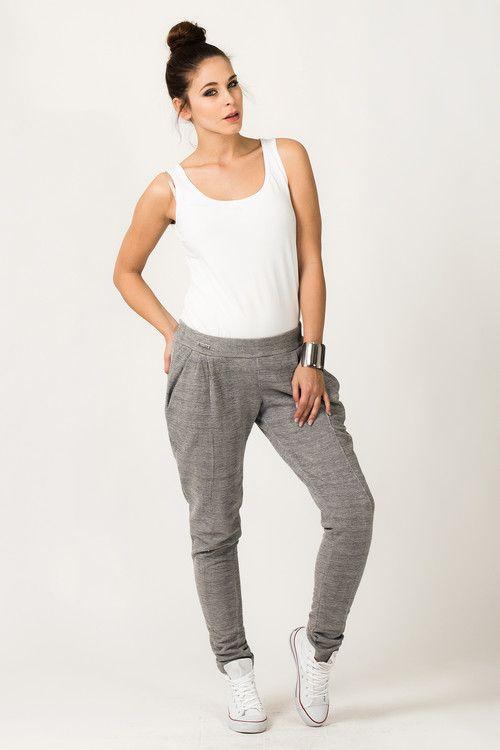 Spodnie dresowe damskie w kolorze szarym