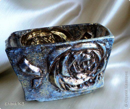 Декор предметов Декупаж Кракелюр Синее золото Краска фото 6