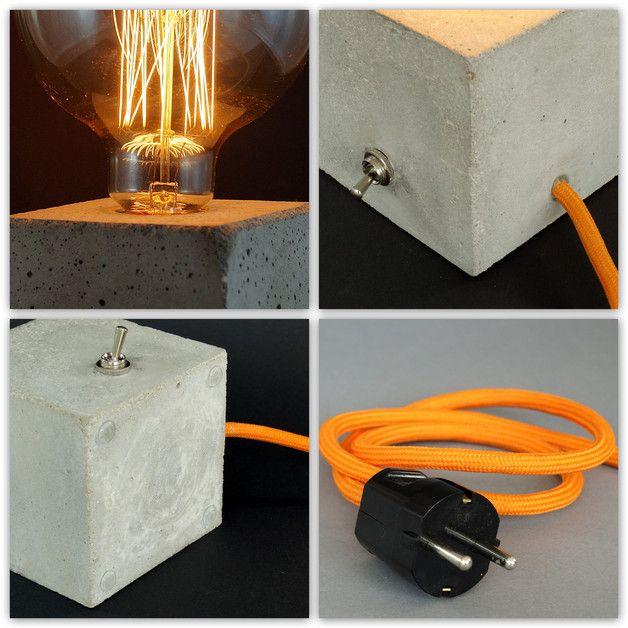 Tischlampen - Betonlampe.  - ein Designerstück von Uniikat-Shop bei DaWanda ---------------- Lamp, Lampe, Beton, Concrete, Bulb, Fabric Cable, concrete lamp, industrial, Table,  Tisch, Textilkabel, Tischlampe, Nachttischlampe