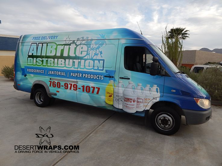 AllBright Distribution van wrap install by DesertWraps.com located in Palm Desert, CA. 760-935-3600 Servicing Palm Springs, Cathedral City, Rancho Mirage, Palm Desert, La Quinta, Indian Wells, Indio, Coachella Valley.