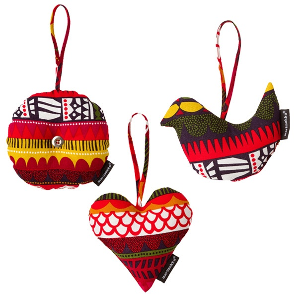 Raanu Christmas decorations by Marimekko. Design by Sanna Annukka.