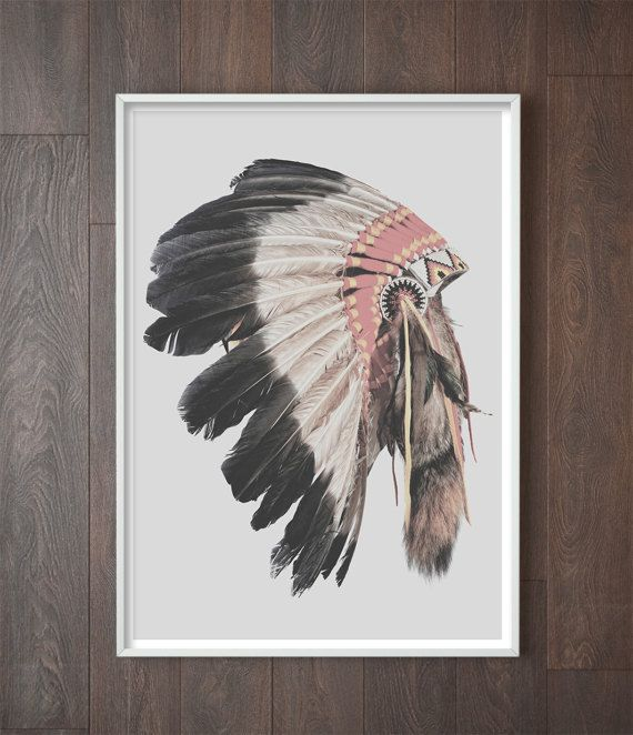 American Indian Headdress Art | American Indian Decor | Boho Decor | Modern Bohemian Decor | American Indian Artwork | Native American Decor | Bohemian Style Home Inspiration | Boho Home Decor. Art Prints by Little Ink Empire on Etsy