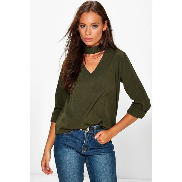 Boohoo Roxy Woven Choker Neck Blouse (9.110 CRC) ❤ liked on Polyvore featuring tops, blouses, khaki, flat top, brown crop top, off shoulder blouse, polka dot jersey and browns jersey