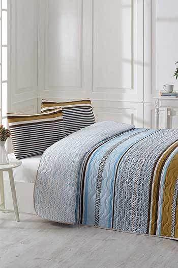 Barna Kék kétszemélyes steppelt ágytakaró szett